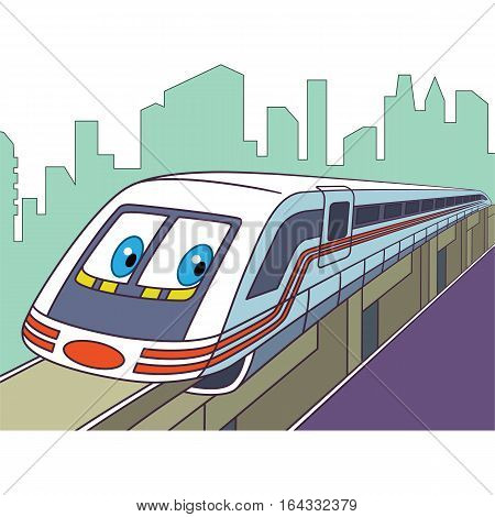 Cartoon vehicle transport. High speed electric train isolated on white background. Childish vector illustration and colorful book page for kids.