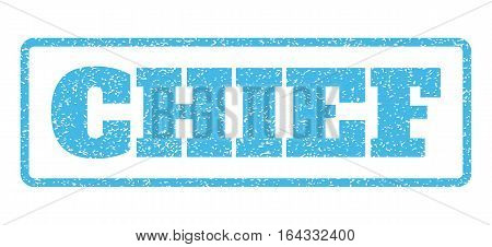 Light Blue rubber seal stamp with Chief text. Vector message inside rounded rectangular shape. Grunge design and dirty texture for watermark labels. Horisontal sticker on a white background.