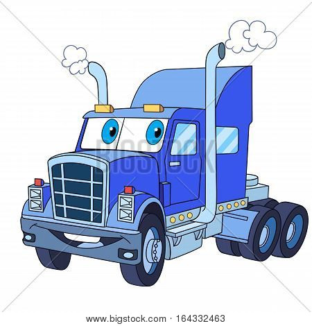 Cartoon vehicle transport. Heavy semi truck (trailer lorry) isolated on white background. Childish vector illustration and colorful book page for kids.