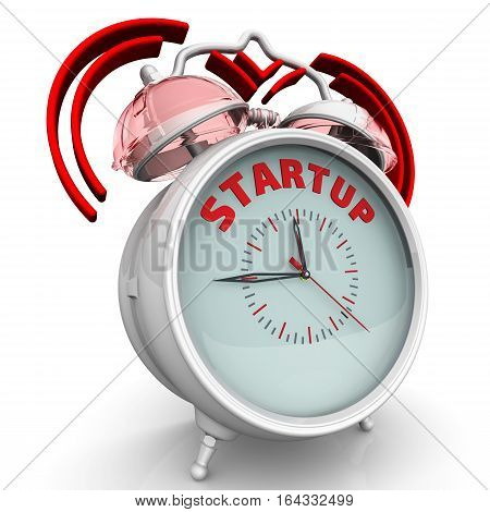 Startup. The alarm clock with an inscription. Alarm clock with the red words