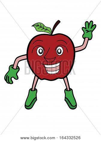 Apple Fruit Waving Hand Cartoon Character. Vector Illustration.