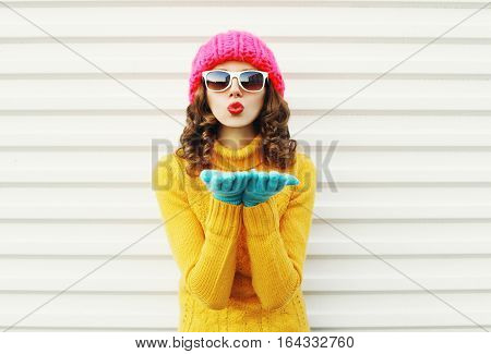 Portrait Fashion Woman Blowing Red Lips Makes Sends Air Kiss Wearing Colorful Gloves Knitted Hat Ove