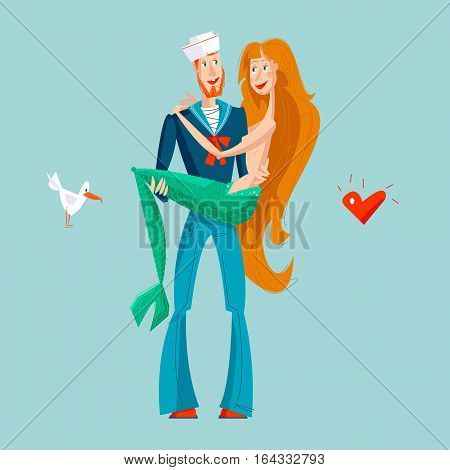 The sailor holds mermaid in hands. St. Valentine's Day. Vector illustration