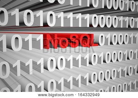 NoSQL in the form of binary code, 3D illustration
