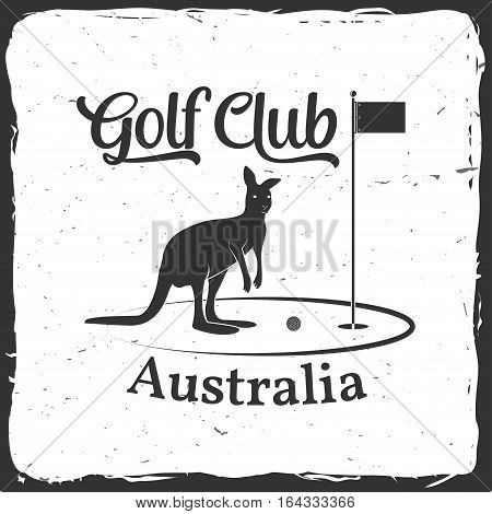 Golf club concept with kangaroo silhouette. Vector golfing club retro badge. Concept for shirt, print, seal or stamp. Typography design- stock vector.