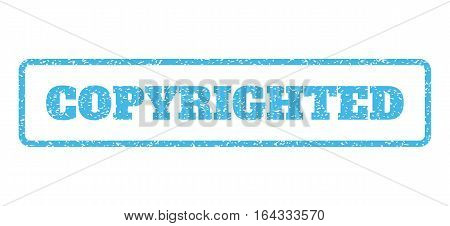 Light Blue rubber seal stamp with Copyrighted text. Vector message inside rounded rectangular banner. Grunge design and unclean texture for watermark labels. Horisontal sticker on a white background.
