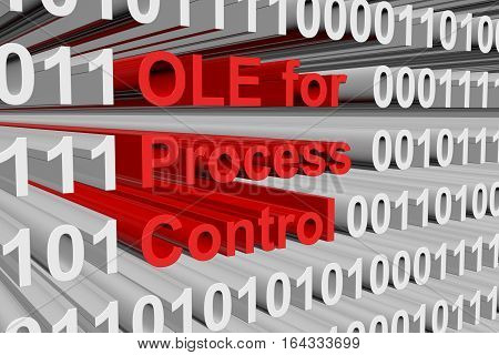 OLE for Process Control in the form of binary code, 3D illustration