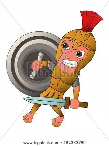 Roman Warrior Cartoon with Sword and Shield Cartoon Character