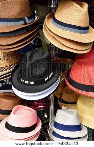 Le Bois Plage en Re France - september 27 2016 : hats at the market