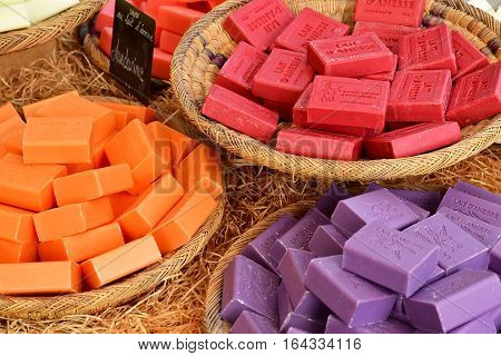 Le Bois Plage en Re France - september 27 2016 : soap at the market