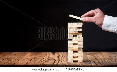 Taking Risk To Make Buiness Growth Concept With Wooden Blocks