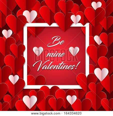 Valentines Day Vintage Background With  Papper hearts