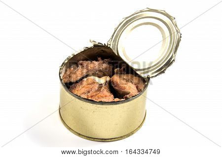 Opened metal can with conserved sardines fish isolated with clipping path
