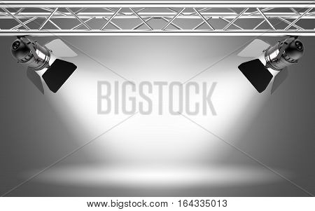 Stage light on grey background 3D rendering