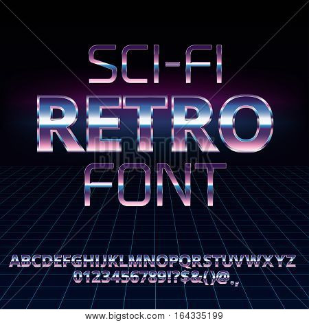 Sci-Fi 80's retro alphabet movie font. Metal chrome effect letters and numbers. Vector typeface set
