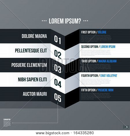 Modern Business Template With Five Numbered 3D Stripes And Options On Gray Background. Neutral Corpo