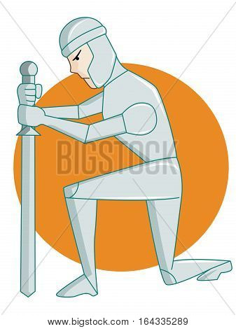 Warrior Kneeling with Sword Rounded Background Cartoon Illustration.