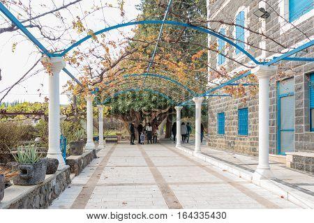 Capernaum (Cafarnaum) Israel - January 01 2017 : Alley in Greek Orthodox monastery of the twelve apostles in Capernaum (Cafarnaum).