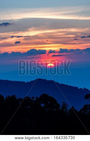 Dawn From Mae Kampong Village While Sunrise From Sky