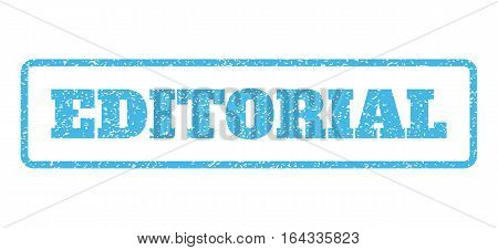 Light Blue rubber seal stamp with Editorial text. Vector tag inside rounded rectangular shape. Grunge design and dirty texture for watermark labels. Horisontal sticker on a white background.