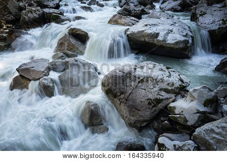 Ötztal Valley mountain river. Wellerbrück. Ötztaler Ache Oetz Austria Europe
