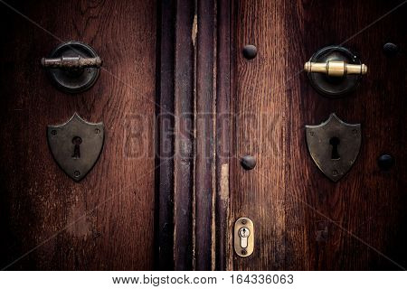 Old door in Europe vintage and classic style
