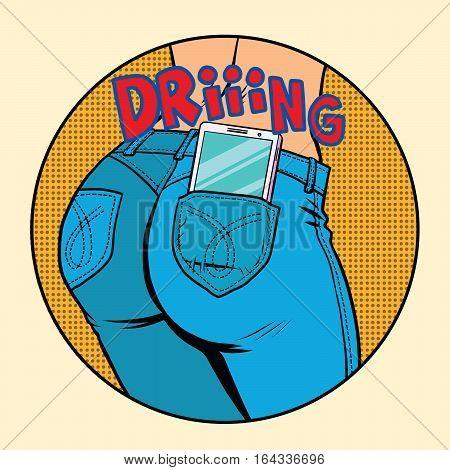Phone ringing, back pocket jeans women, pop art retro vector illustration. Modern technology. Smartphone