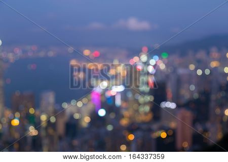 Blurred bokeh lights Hong Kong central business downtown aeril view abstract background
