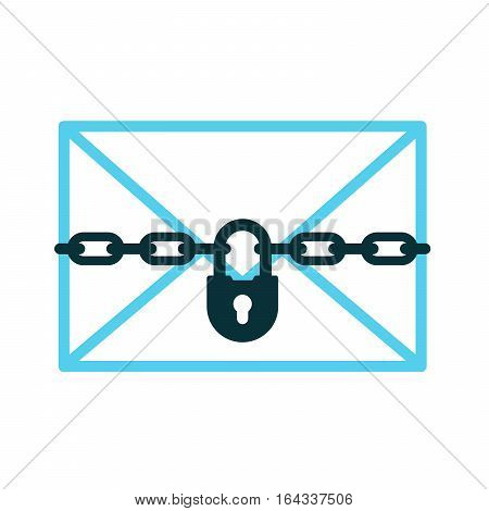Confidential mail concept - icon of padlock with chain protects letter vector illustration