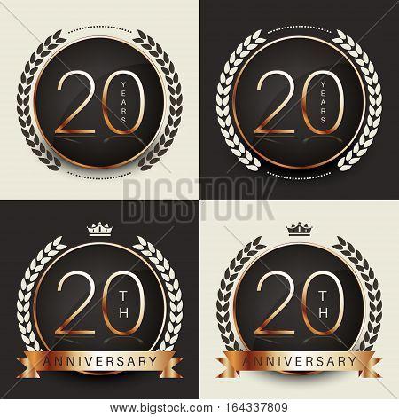 Twenty years anniversary celebration logotype. 20th anniversary logo collection.