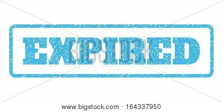 Light Blue rubber seal stamp with Expired text. Vector tag inside rounded rectangular frame. Grunge design and dust texture for watermark labels. Horisontal sign on a white background.
