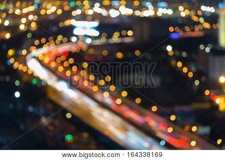 Blurred lights night view city highway curved abstract background
