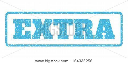 Light Blue rubber seal stamp with Extra text. Vector tag inside rounded rectangular frame. Grunge design and unclean texture for watermark labels. Horisontal emblem on a white background.