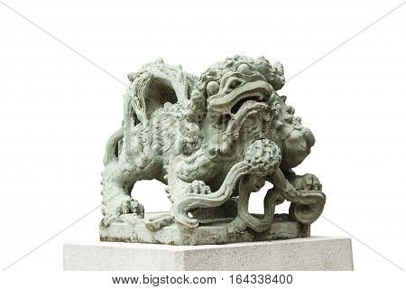 Sculpture of Chinese lion Antique traditional stone carving doll