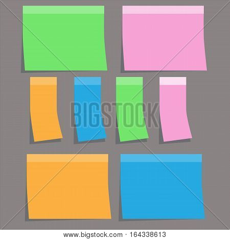 colorful sticky paper note on gray background. sticky note sign.