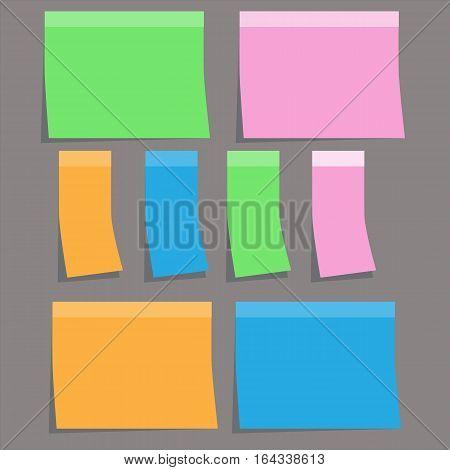 colorful sticky paper note on gray background. sticky note sign.