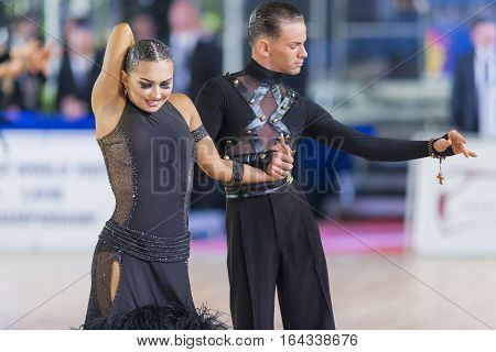 Riga Latvia-December 17 2016: Unidentified Adult Dance Couple Performs Youth Latin-American Program on the WDSF Baltic Grand Prix-2106 Championship in December 17 2016 in Riga Latvia.