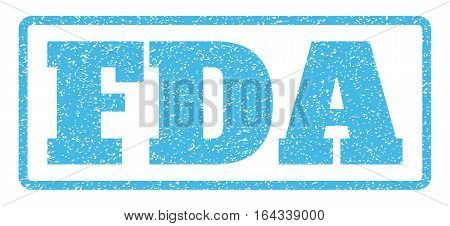 Light Blue rubber seal stamp with FDA text. Vector caption inside rounded rectangular banner. Grunge design and unclean texture for watermark labels. Horisontal sign on a white background.