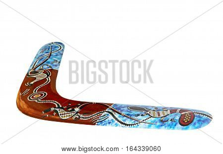 Multicolored australian boomerang isolated on white background taken closeup.