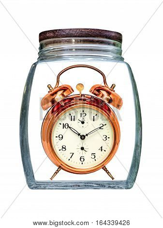 Canned time concept.Retro Alarm Clock preserved in transparent glass jar isolated on white background.