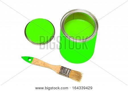 Bank of green paint and paintbrush isolated on white background.