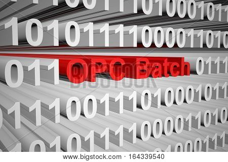 OPC Batch in the form of binary code, 3D illustration