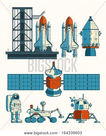 Set vector flat illustration of a rocket is ready for launch, space station, the rover, astronav isolated on white.