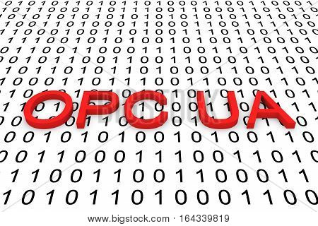 OPC UA in the form of binary code, 3D illustration