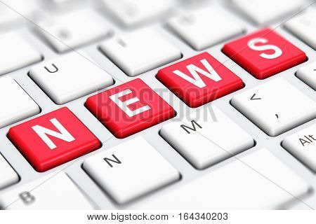 3D render illustration of the macro view of red color News text word on buttons of white computer PC or laptop notebook keyboard keys with selective focus effect