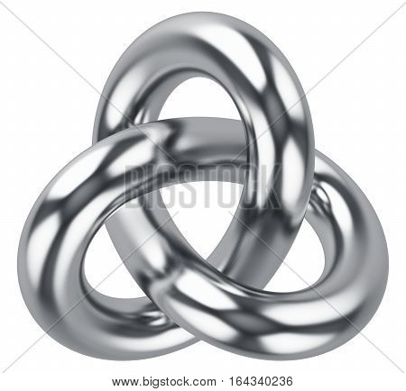 Creative abstract 3D render illustration of shiny metal infinite triangle torus knot loop isolated on white background