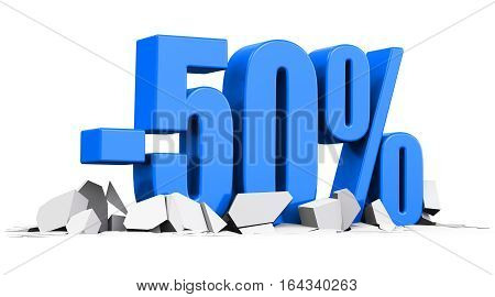 3D render illustration of blue minus 50 percent sign or symbol price cut off text on cracked surface isolated on white background