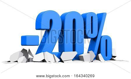 3D render illustration of blue minus 20 percent sign or symbol price cut off text on cracked surface isolated on white background