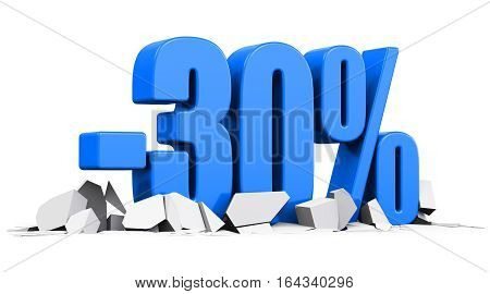 3D render illustration of blue minus 30 percent sign or symbol price cut off text on cracked surface isolated on white background