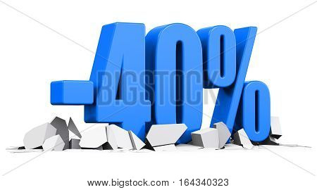 3D render illustration of blue minus 40 percent sign or symbol price cut off text on cracked surface isolated on white background